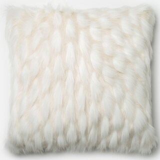 Faux Fur White Textured Down Feather or Polyester Filled 22-inch Throw Pillow or Pillow Cover