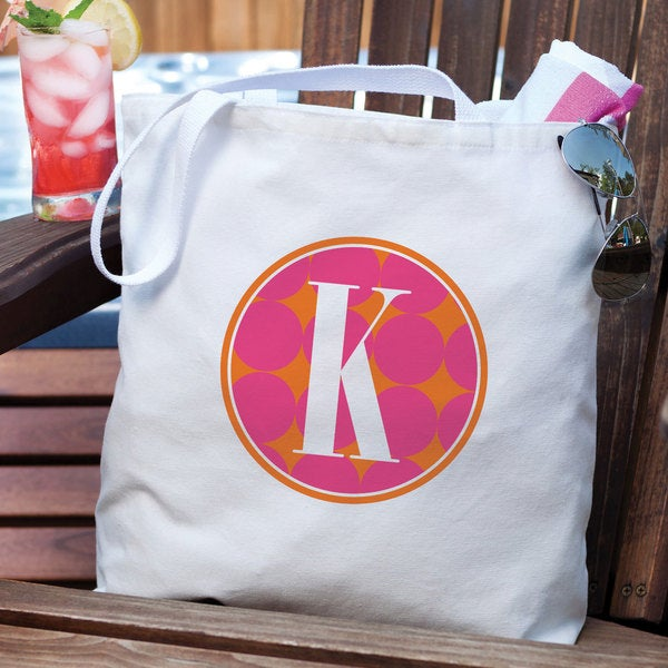 Personalized Pink Polka Dots Tote Bag