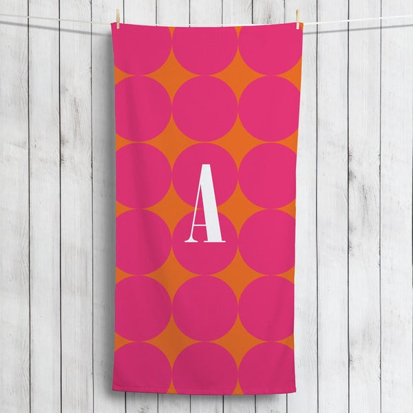 Pink Polka Dots Personalized Beach Towel