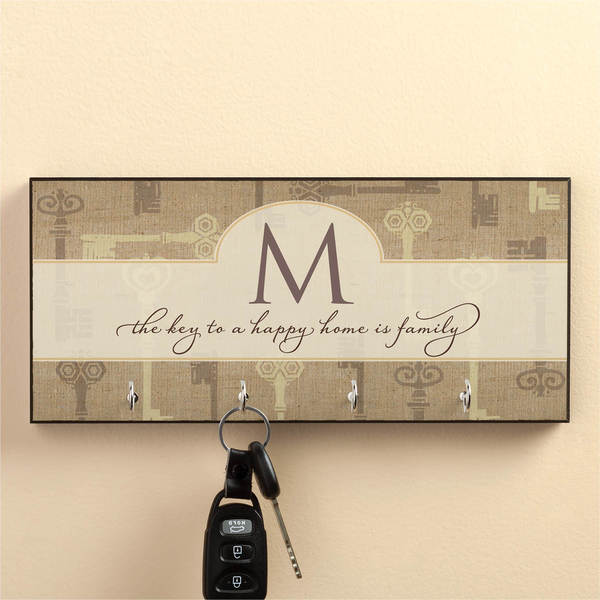 Key To A Happy Home Personalized Key Hanger-Initial
