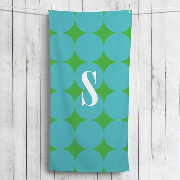 Blue Polka Dots Personalized Beach Towel