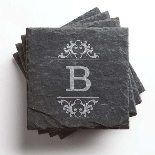 Initial Set of 4 Personalized Slate Coasters