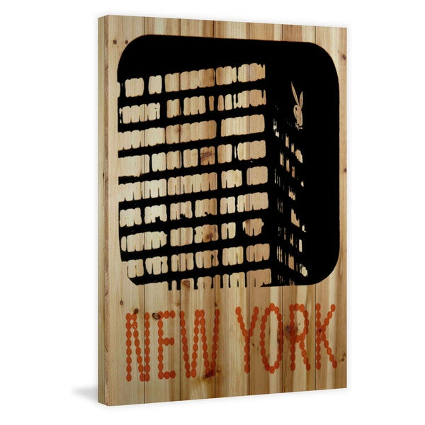 Marmont Hill 'New York' Playboy Art Printed on Natural Pine Wood