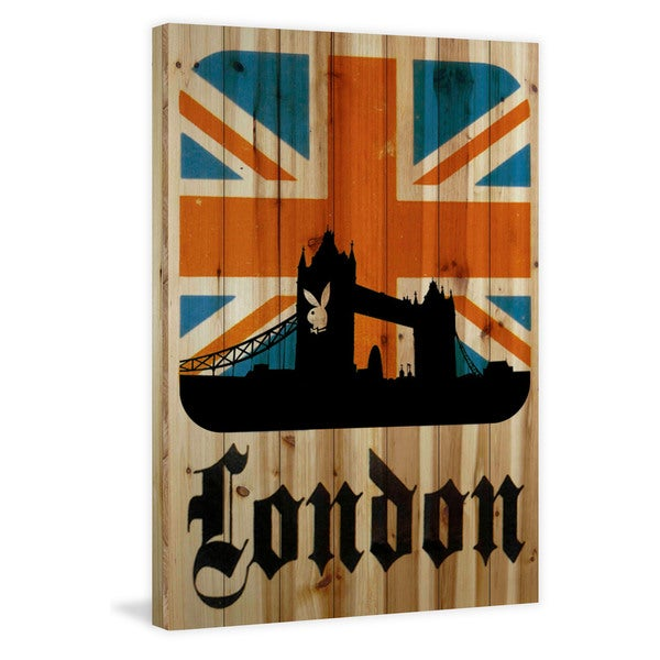 Marmont Hill 'London' Playboy Art Printed on Natural Pine Wood