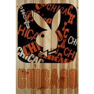 Marmont Hill 'Chicago' Playboy Art Printed on Natural Pine Wood
