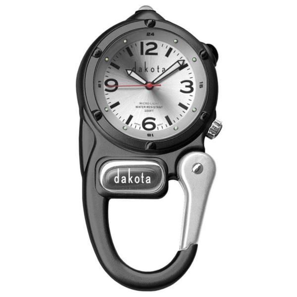 Dakota Unisex Black and Silver Mini Clip Microlight Clock