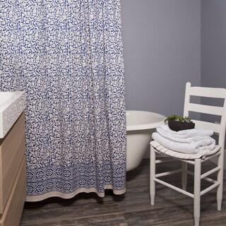 Indigo Chain Pattern Shower Curtain Batik (India)