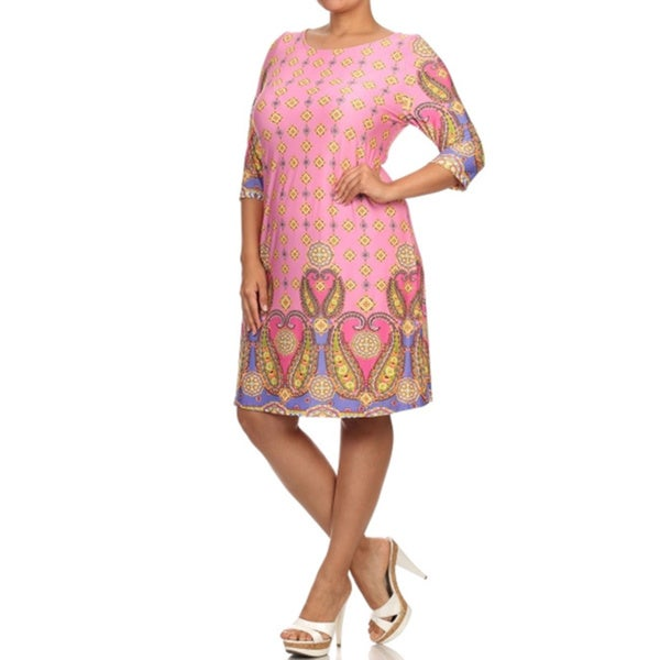 Women's Plus Size Pink Print Dress