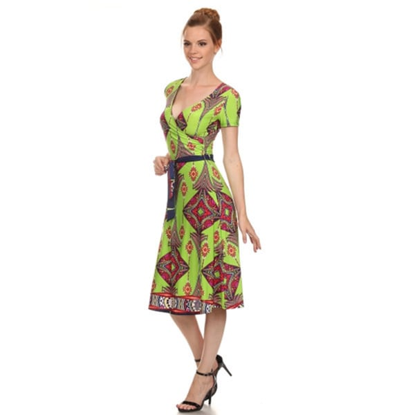 Women's Plus Size Print Wrap Tie Dress