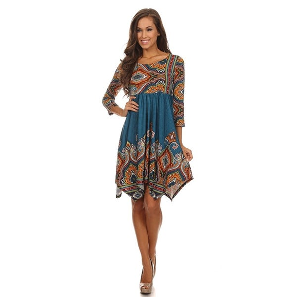 Women's Plus Size Teal Print Asymmetrical Hem Dress