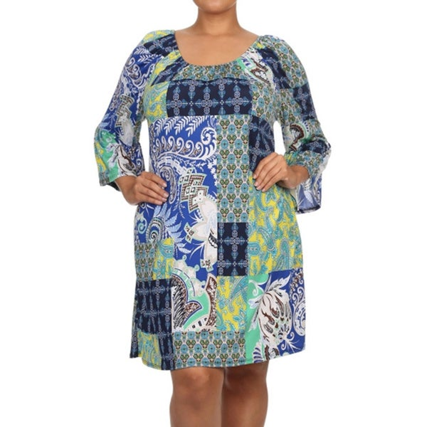 Women's Plus Size Shift Dress with Kimono Sleeves