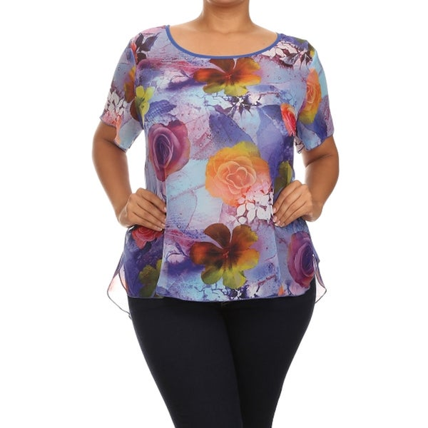 Women's Plus Size Flower Print Relaxed Blouse