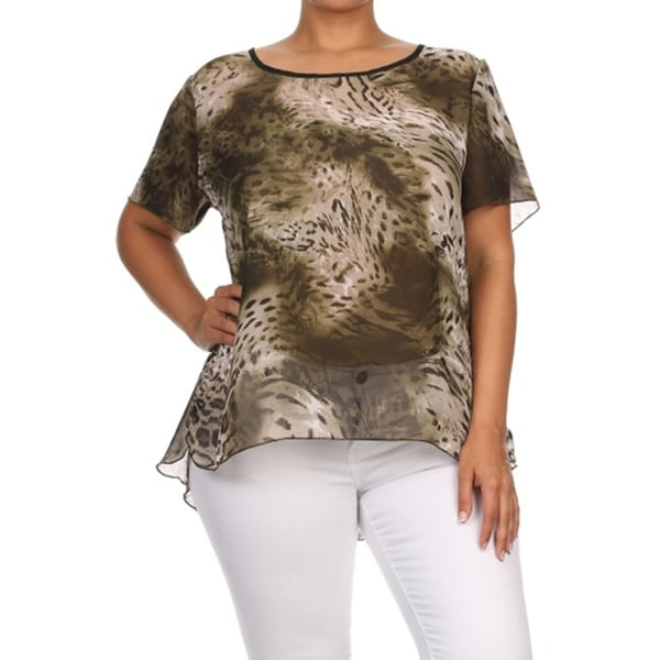 Women's Plus Size Animal Print Relaxed Blouse
