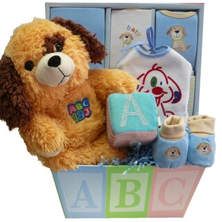 Art of Appreciation Patches the Puppy ABC's Baby Boy Gift Basket