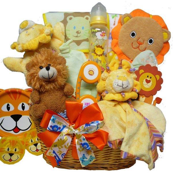 Cuddly Lion Cub Baby Boy Gift Basket