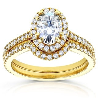 Annello 14k Yellow Gold Oval Moissanite and 1/2ct TDW Diamond Halo Bridal Set (G-H, I1-I2)