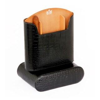 Brizard & Co Croco Black Travel Humidor - Made in USA