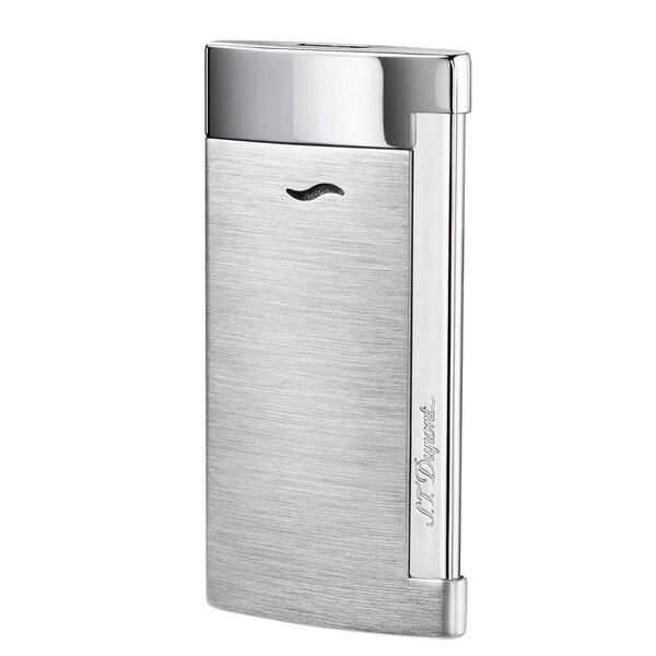 STDupont Slim 7 Single Torch Flame Lighter - Brushed Chrome