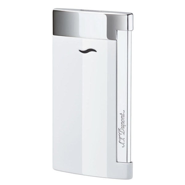 STDupont Slim 7 Single Torch Flame Lighter - White Lacquer & Chrome