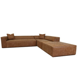 Decenni Tahoma Tan Italian Leather Sectional & Ottoman