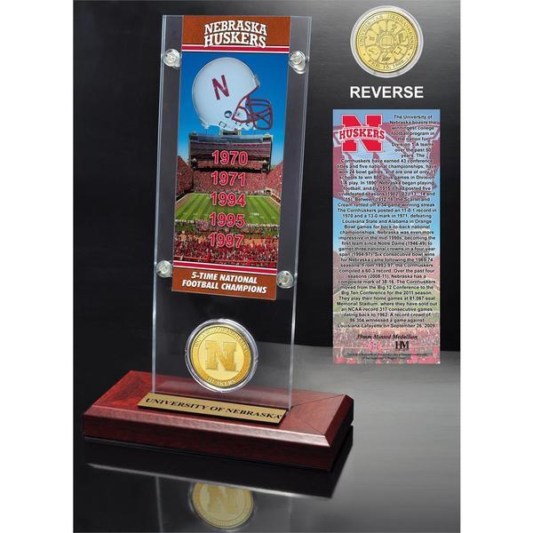 University of Nebraska 5- time National Champions Ticket and Bronze Coin Desk Top Acrylic