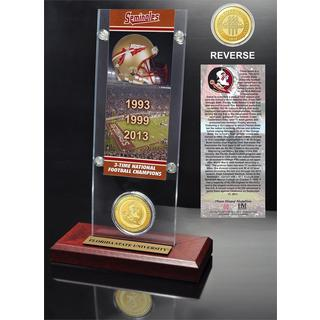 Florida State University 3- time National Champions Ticket and Bronze Coin Desk Top Acrylic