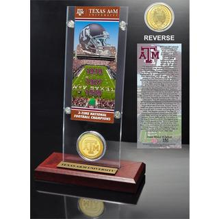 Texas A and M University 3- time National Champions Ticket and Bronze Coin Desk Top Acrylic