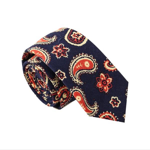 Skinny Tie Madness Men's 'Paisley Party' Organic Cotton Navy Skinny Tie