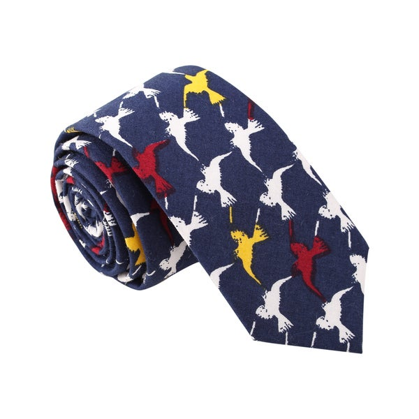 Skinny Tie Madness Men's 'Attack of the Birds' Navy Skinny Tie