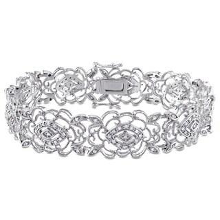 Miadora Signature Collection 10k White Gold 3/4ct TDW Diamond Milgrain Finish Flower Bracelet (G-H, I1-I2)