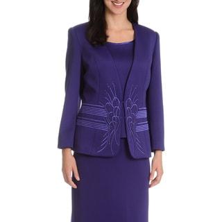 Giovanna Signature Women's Rhinestone 3-piece Skirt Suit