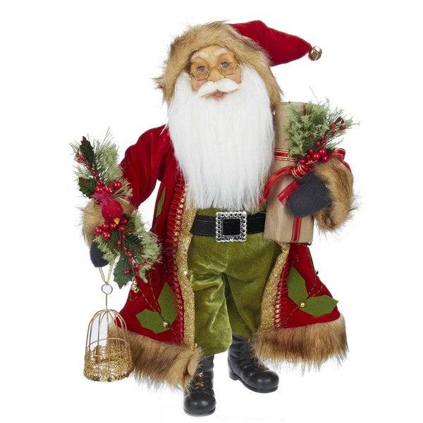 Kurt Adler 18-inch Red and Green Standing Santa with Bird