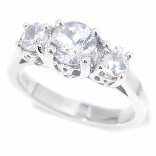 Sterling Silver White Zircon 3-Stone Ring