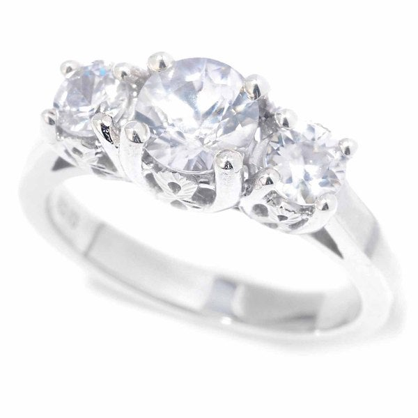 Sterling Silver White Zircon 3-Stone Ring