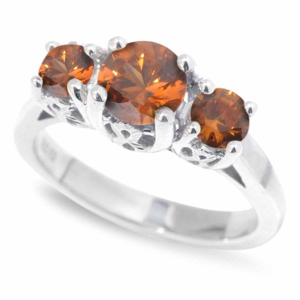 Sterling Silver Round Brown Zircon 3-Stone Ring