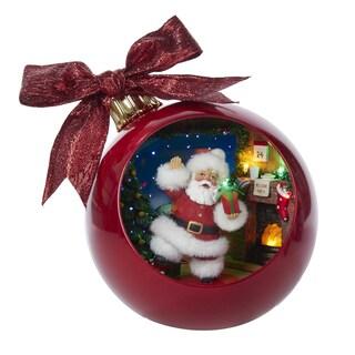 Kurt Adler 250 mm. Musical Santa by Fireplace Scene Ball