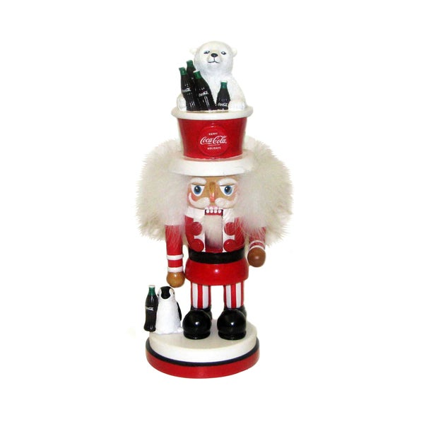 Kurt Adler 15-inch Coca Cola Nutcracker with Polar Bear Hat