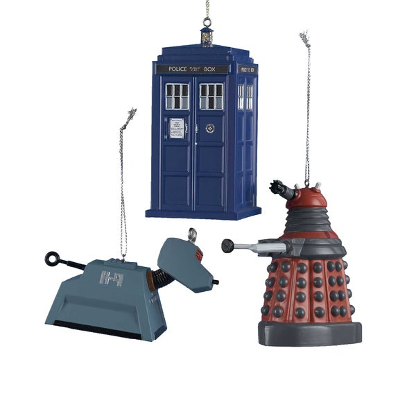 Kurt Adler 4.5-inch Doctor Who Ornaments, 3-piece Set