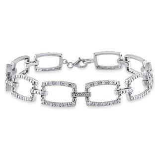 Miadora Signature Collection 10k White Gold 1ct TDW Rounded Rectangular Link Diamond Bracelet (G-H, I1-I2)