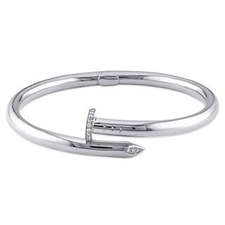 Miadora Signature Collection 18k White Gold 1/3ct TDW Diamond Nail Bangle Bracelet (F-G, SI1-SI2)