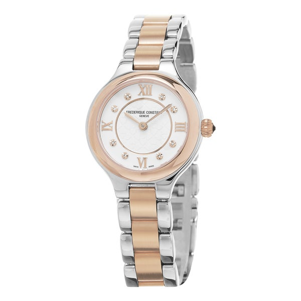 Frederique Constant Women's FC-200WHD1ER32B 'Delight' Cream Diamond Dial Stainless Steel Two Tone Swiss Quartz Watch