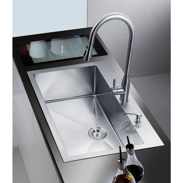 NationalWare Overmount Stainless Steel 33 in. 2-Hole Single Bowl Kitchen Sink in Stainless Steel