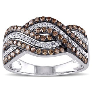 Miadora 14k White Gold 3/4ct TDW Brown and White Diamond Triple Row Infinity Ring