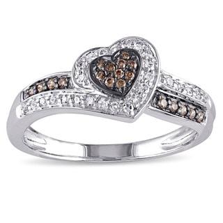 Miadora 14k White Gold 1/4ct TDW Brown and White Diamond Heart Ring