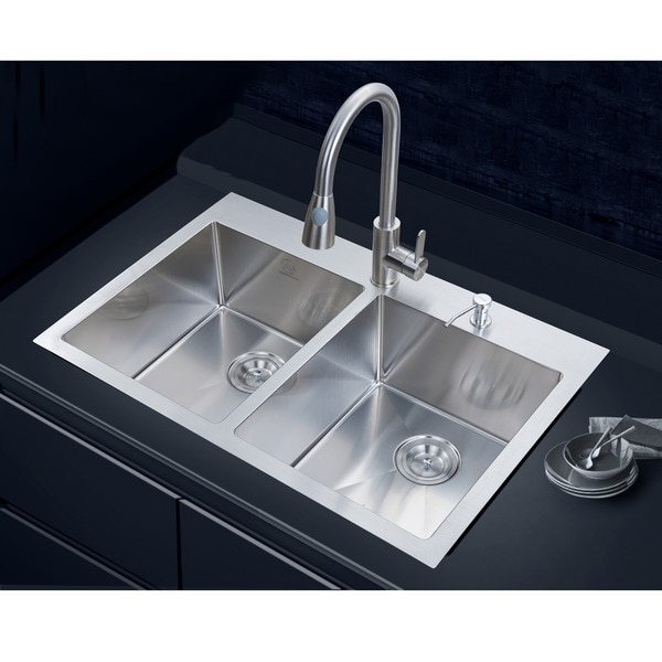 NationalWare Overmount Stainless Steel 33 in 2 Hole Double Bowl Kitchen Sink