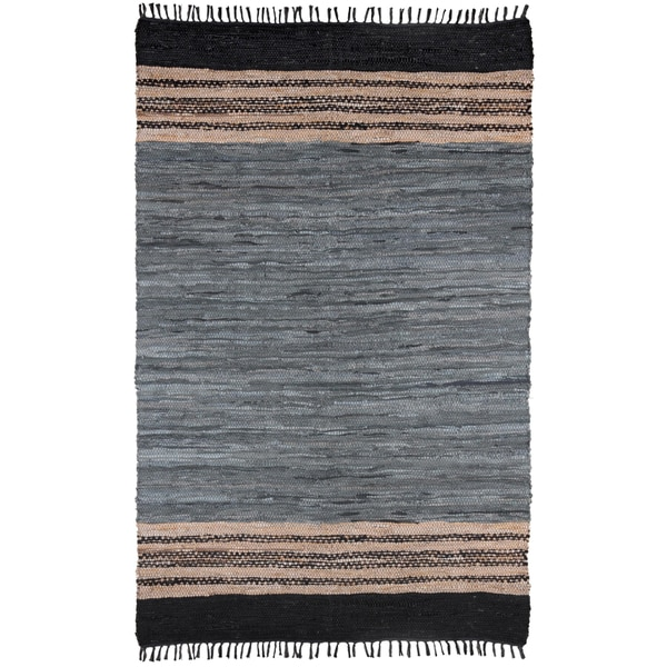 "Grey Matador Leather Chindi (21""x34"") Rug"