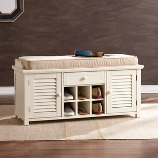 Upton Home Aldon Antique White Shoe Storage Bench