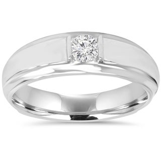 10K White Gold 1/ 6CT Mens Diamond Solitaire Ring (I-J/ I2-I3)