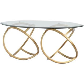 METAL HOOPS MODERN COFFEE TABLE GOLD WITH GLASS TOP