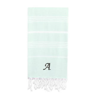 Authentic Pestemal Fouta Original Soft Aqua and White Striped Turkish Cotton Bath/Beach Towel with Monogram Initial